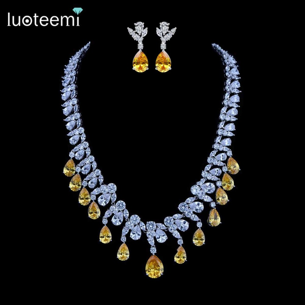 LUOTEEMI Luxury Desgin Unique Beautiful Yellow Water Drop Cubic Zirconia Necklace And Stud Earrings Set For Anniversary Party