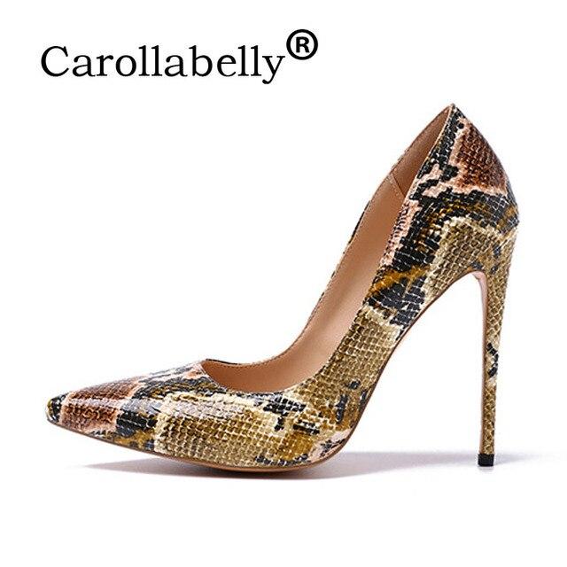 20f6db8e87d Carollabelly mujeres bombas Leopard blanco zapatos mujer tacones altos  zapatos de boda mujeres Sexy charol talón