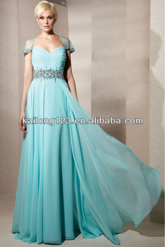 ffafc0a1716 Intricate Sweetheart Sheer Cap Sleeves Flowy Skirt Light Turquoise Beaded  Waist Ruched Bodice Chiffon Mother Of The Bride Dress
