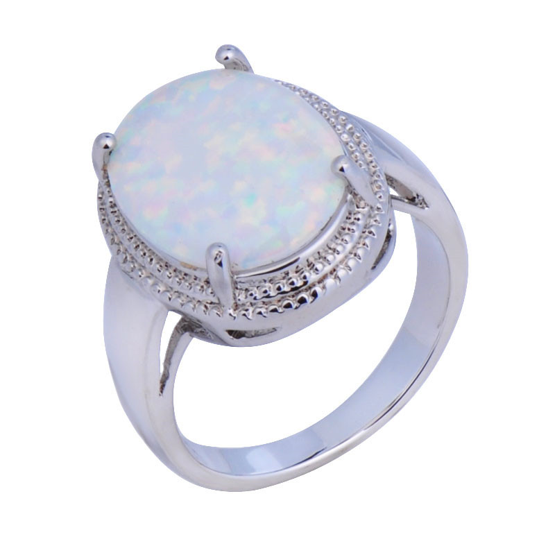 size6789 noble wedding jewelry large round rainbow opal stone women white gold filled engagement rings anel aneis rp0060 - Large Wedding Rings