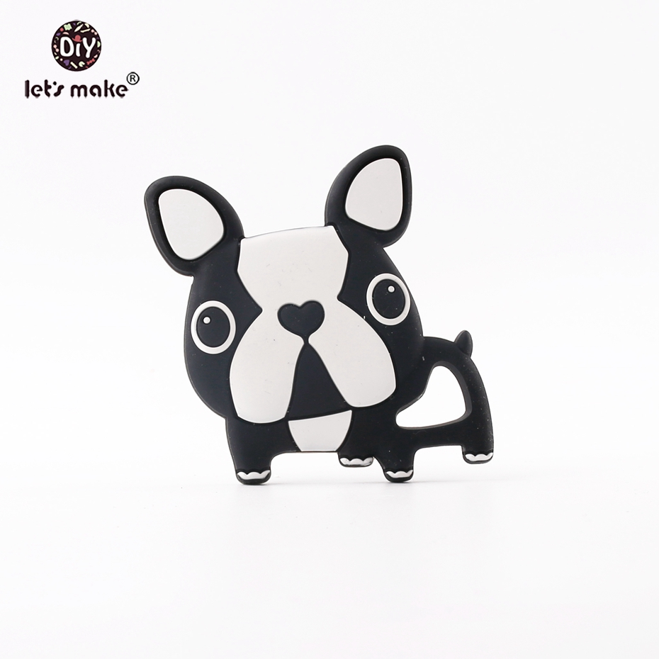 Lets make Food Grade Silicone Cute French Bulldog Teething Lovely Dogs Pendant Baby Toys 1pc New Cartoon Baby Teethers
