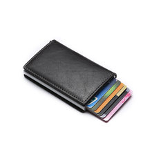 Anti id Credit Card Holder Rfid Blocking Wallet Leather Cardholder Security Aluminum Metal Purse creditcard holder Case(China)