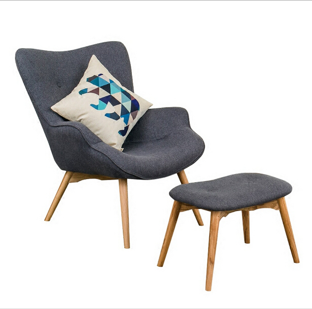 Fabric Accent Chairs Living Room Sears Furniture Aliexpress Com Buy Mid Century Modern Contour Chair W Footstool Muted Armchair Chaise Lounge