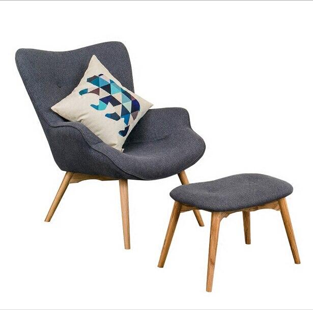 Mitte Des Jahrhunderts Moderne Kontur Stuhl W/Hocker Wohnzimmer Möbel  Gedämpften Stoff Sessel Chaiselongue Stoff