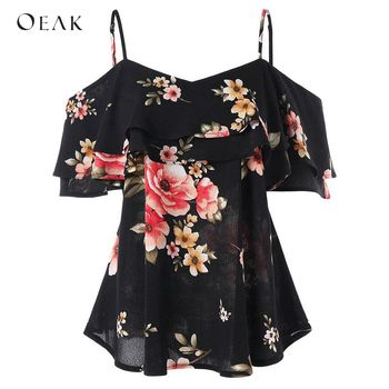 Off Shoulder Short Sleeve Floral Print Tee Casual Ruffles Shirts