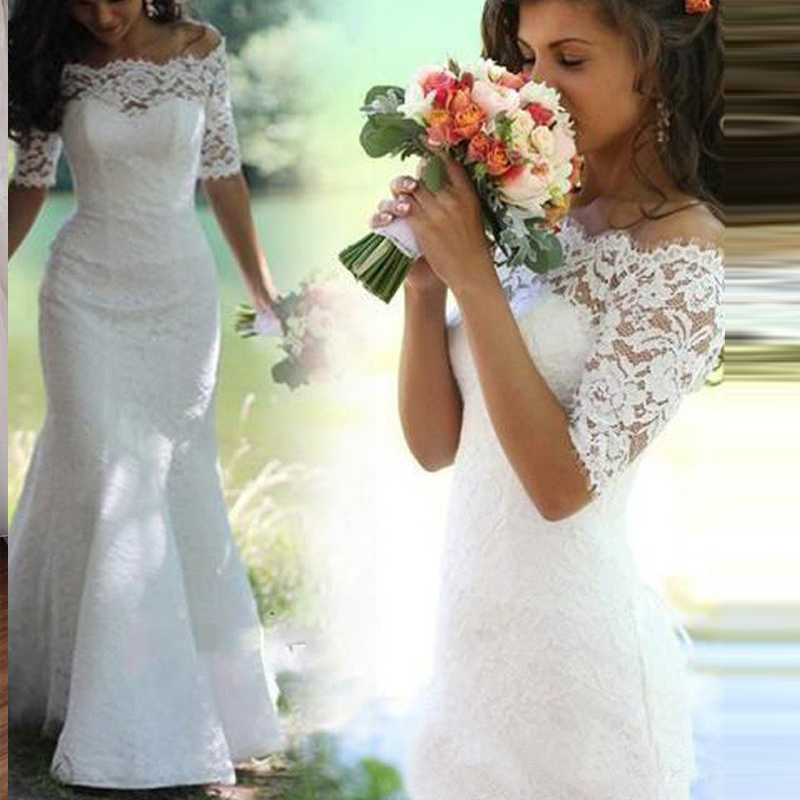 Trumpet/Mermaid Lace Sweep Train Half Sleeves Wedding Dresses boho Beach bridal Gown robe de soiree vestido de noiva simples