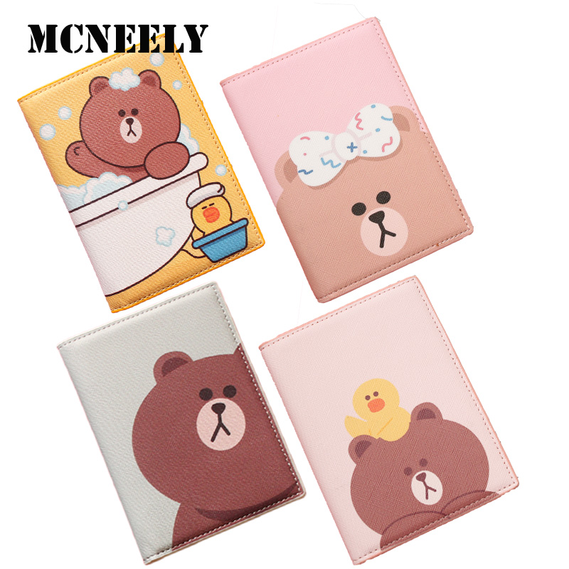 Cute BROWN And CHOCO Passport Cover Travel Girl Passport Holder Business Protection COVER Children Teckiet Bank Credit Card Case