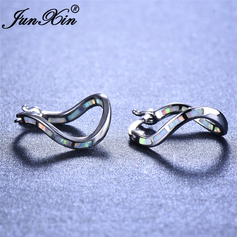 JUNXIN Silver Color White Fire Opal Earrings For Women Rainbow Birthstone Wave Hoop Earrings Female Wedding Gifts