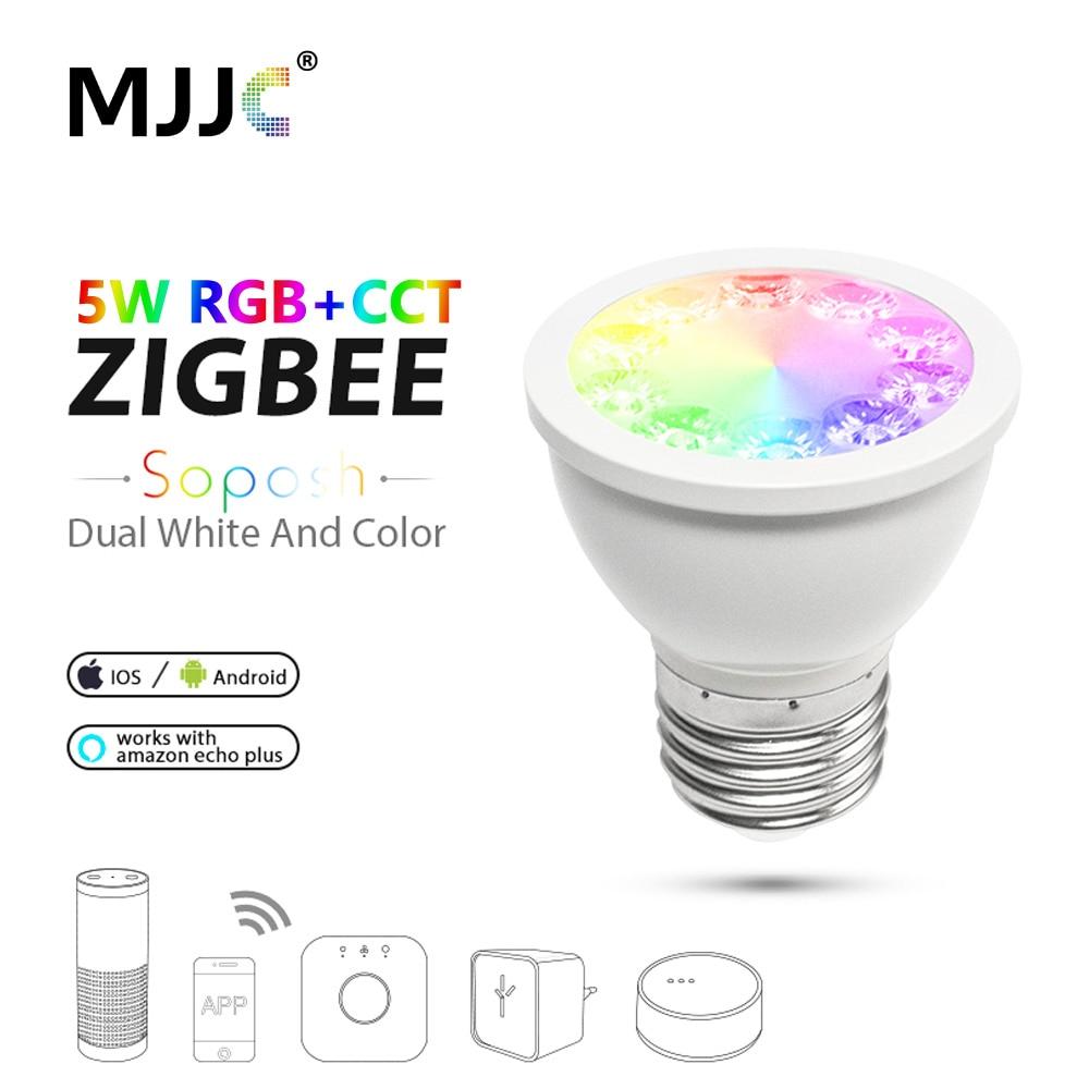 ZIGBEE ZLL LED Bulb GU10 E27 E26 Dimmable RGBW RGBCCT 5W 110V 220V 230V Smart Light Bulb Lamp App Control LED Spotlight for Home
