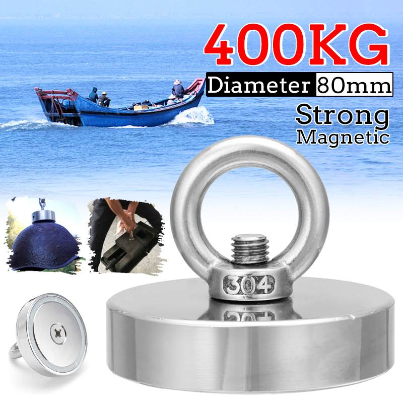 400KG Strong Salvage Magnet Fishing Magnets Deep Sea Salvage Fishing Hook Neodymium Magnet Treasure Hunters Holder