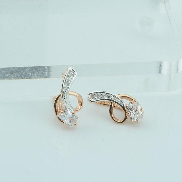FJ Frauen Femme Weiße Rose Ohrring 585 Gold Farbe Baumeln Ohrringe ...