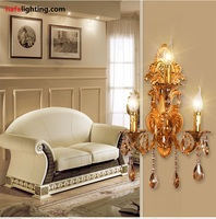 Fashion 3 Lamps crystal wall lamp candle double slider wall lamp living room wall lamp stair Golden Modern crystal wall Sconce