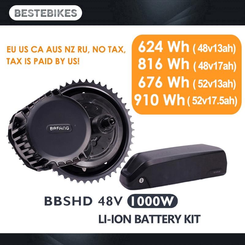 Bafang motore BBSHD 48V1000w motore elettrico kit bbs03 batteria velo electrique bicicleta electrica 52V17. 5ah EU/US NESSUNA Tassa