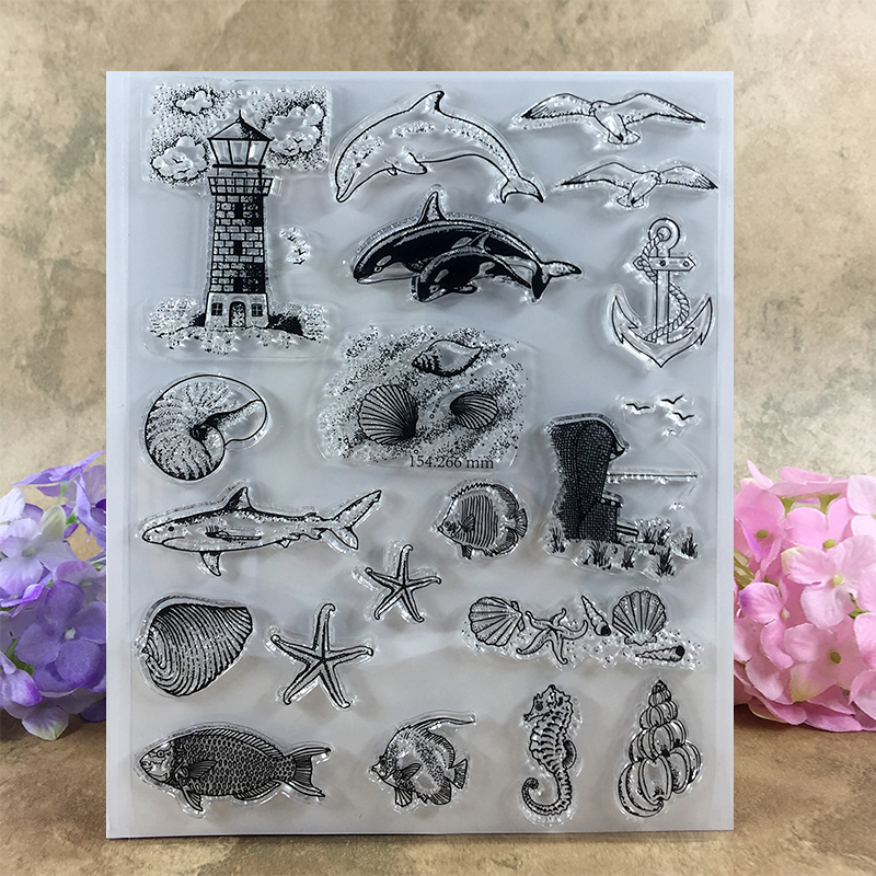 Various Fish Starfish hippocampi Conch Scrapbook DIY photo cards account rubber stamp clear stamp transparent stamp  14*18 CM scrapbook diy photo cards account rubber stamp clear stamp finished transparent chapter wall decoration 15 18