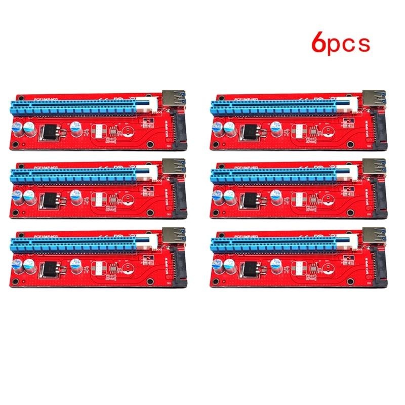 6Pcs USB 3.0 PCI Express 1x to 16x Extender Cable Riser Card Adapter w/ PCI-E SATA 15pin Power Cord for ETH LTC BTC Mining 60cm usb 3 0 adapter 6pcs pci e card 1pcs motherboard pci e pci express riser card 60cm cable to 6pin power for btc miner raiser card