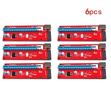 6 шт. USB 3.0 PCI Express 1x к 16x Extender Cable Riser Card адаптер W/pci-e SATA 15pin питания Шнур для Eth ltc БТД горнодобывающей 60 см