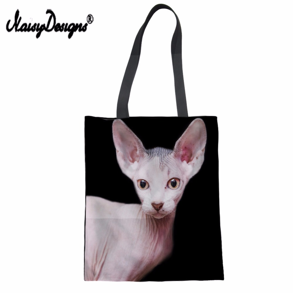 Sphynx Canadian Hairless Print Eco Women Reusable Shopping Bags Cloth Fabric Grocery Pac ...