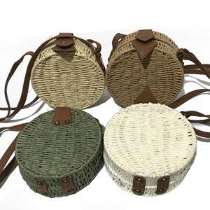 2019 الأزياء جولة موليت نمط القش حقيبة حقائب النساء الصيف كيس الروطان اليدوية المنسوجة الشاطئ دائرة بوهيميا يد