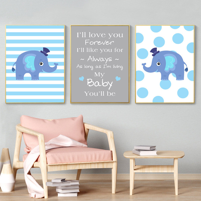 Us 2 6 50 Off Elephant Nursery Decor Letters Love Quote Infant Wall Art Poster Prints Canvas Boy Pictures Hd2651 In Painting