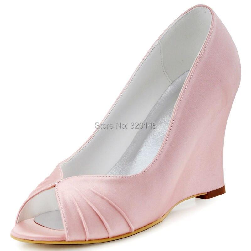 Women Wedges Comfortable High-Heel Shoes Pumps Party-Dress Bride Satin Wedding-Bridal
