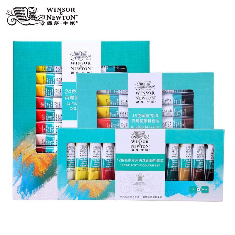 In RüCksichtsvoll Winsor & Newton Professionelle Acrylfarben Set 12/18/24 Farben 10 Ml Handgemalte Wand Zeichnung Malerei Pigment Set Kunst Liefert Duftendes Aroma