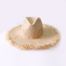 Summer Simple solid color Handmade Weave Raffia Sun Hats For Women Lace Up Large Brim Straw Hat Outdoor Beach Caps
