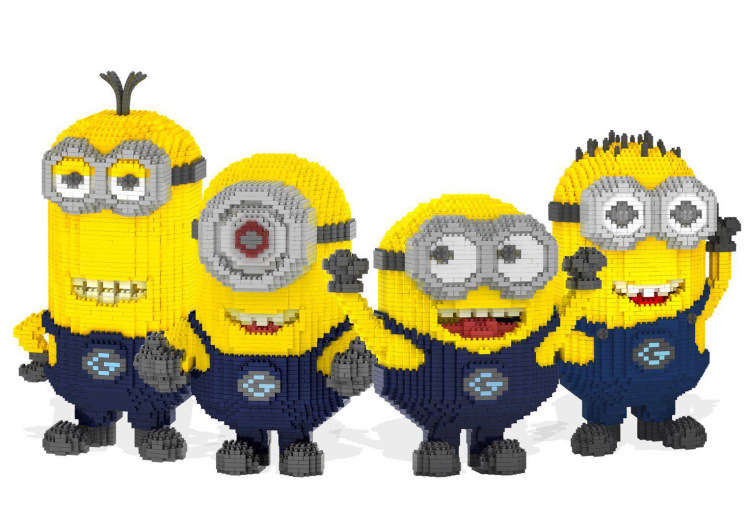 ZRK Big Cartoon Diamond Blocks Anime Minion Building Blocks Auction Figures Despicable me Assembled Bricks Toys for Children minion 2015 despicable me minifigures minecraft building blocks minions toy doll kids toys action 0826