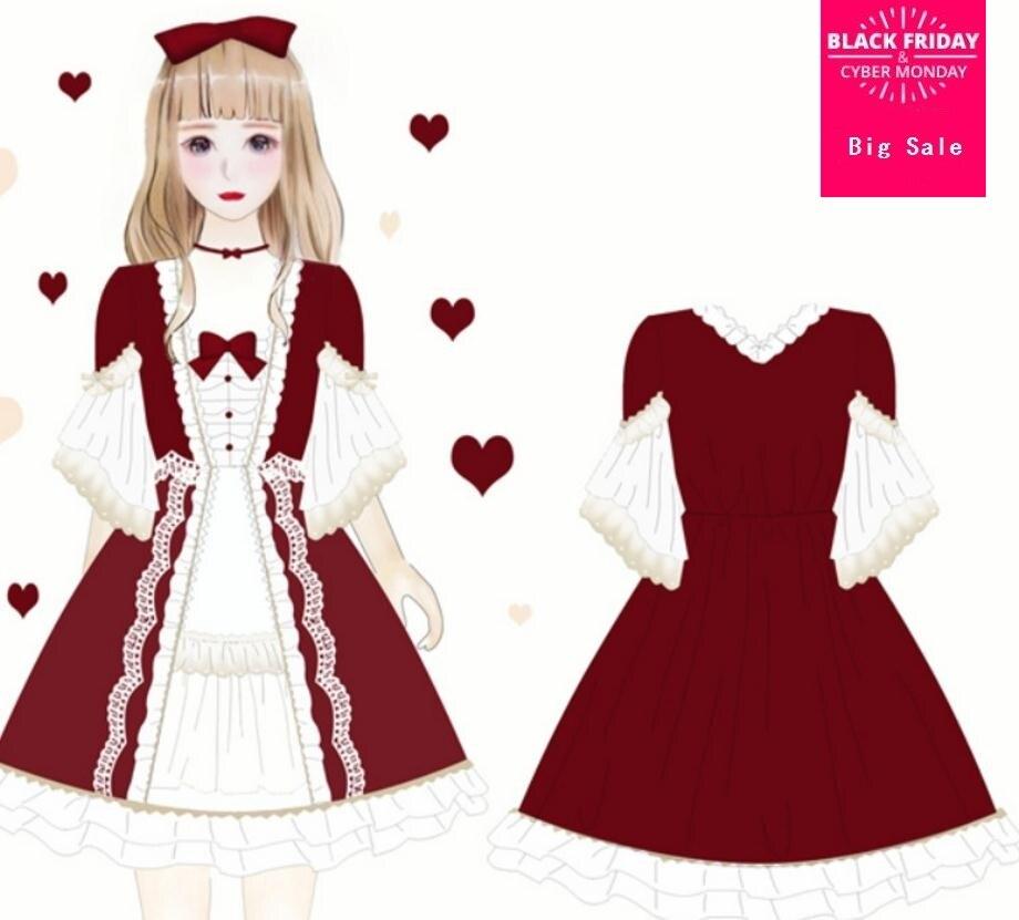 Filles douces japonaises lolita jolie robe 2019 soeur douce Vintage creux coupe velours robe Charlotte Rita volants dentelle robe wj2308