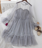 Korean Sequin Bling Dress Women Lace Ruffles Fairy Tulle Dresses Vintage Sexy Ladies Fake Two Piece Party Goddess Tutu Dress