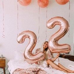 32 pulgadas número globo 1 er cumpleaños fiesta decoraciones niños 30 dígitos oro globos boda figura graduación 2020 globos fiesta