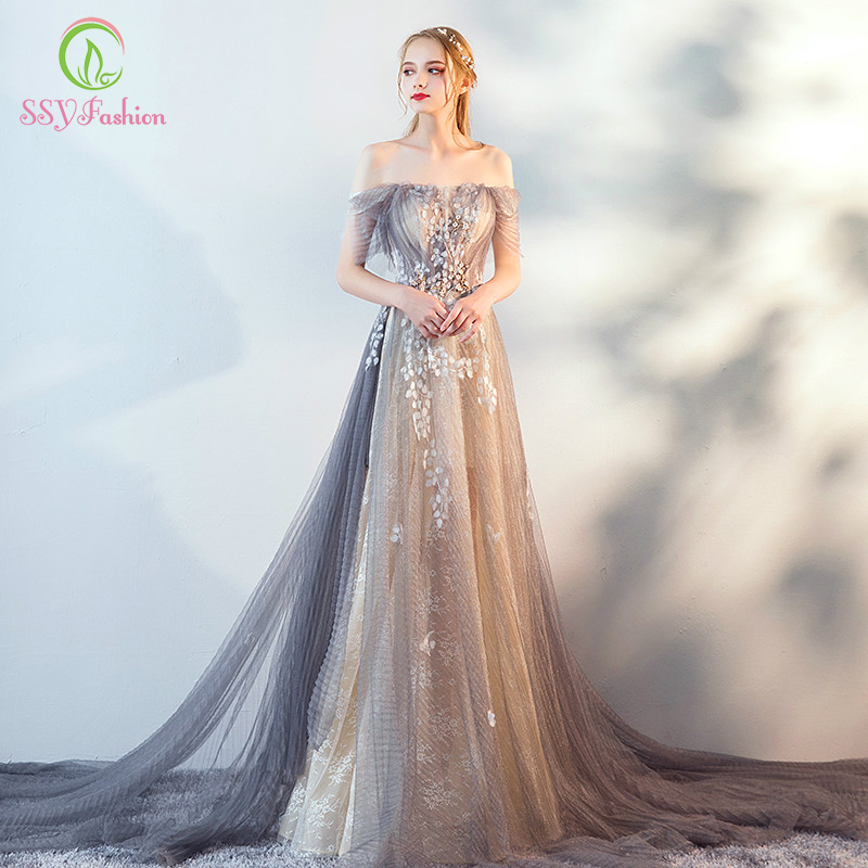 SSYFashion New Sexy Evening Dress Luxury Lace Beading Off Shoulder Light Grey With Train Prom Party
