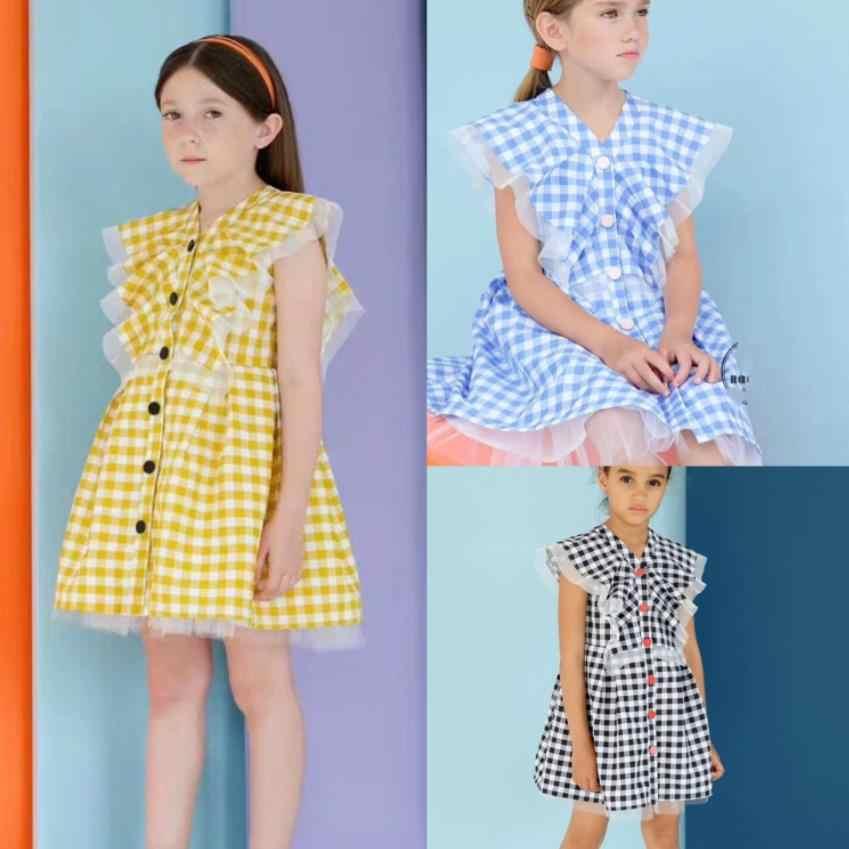 Cô gái mùa hè ăn mặc 2019 mới công chúa kẻ sọc váy ren chắp vá hit màu nút ăn mặc cho trẻ em trẻ em quần áo 1-8Y ws458