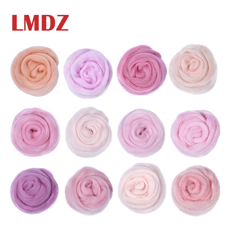 LMDZ 5g/10g/bag 12 Colors Pink Series Roving Wool Fibre for DIY Needle Felting Animal Toys Wool Roving Needle Handmade Spinning(China)