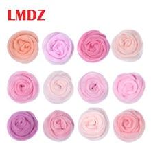 LMDZ 5g/10g/bag 12 Colors Pink Series Roving Wool Fibre for DIY Needle Felting Animal Toys Wool Roving Needle Handmade Spinning
