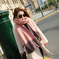 220*55 cm Herbst Winter Frauen Schal Doppelseitige Zwei Farbe Breite Lange Schal Wrap Warm Tippet Kaschmir Quaste schals FS99