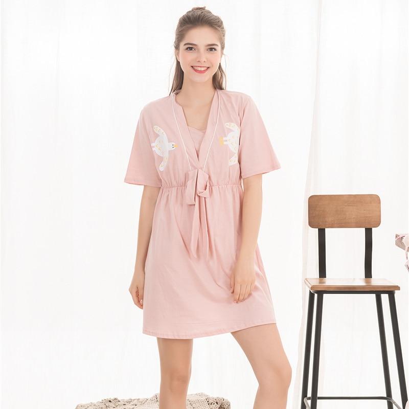 sleepwear for pregnant women 100% cotton home dress breastfeeding nursing nightdress Nightie for feeding maternity clothes mom
