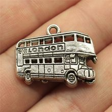 London Bus Charms Pendant Diy Metal Jewelry Making Antique Silver Color 1x0.8 inch (25x20mm) 10pcs/lot(China)