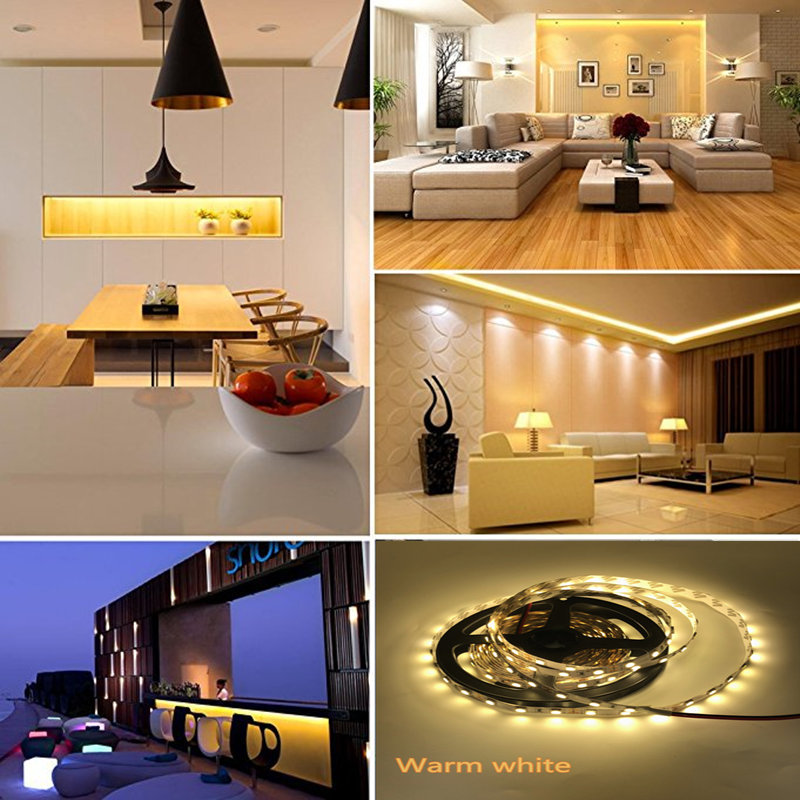 5M LED Strip 5050 RGB lights 12V Flexible Home Decoration Lighting SMD 5050 Waterproof LED Tape White Warm White Blue Green Red in LED Strips from Lights Lighting