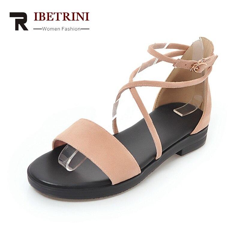 Ritrahini vache daim cuir boucle croix sangle couverture talons hauts chaussures femme été loisirs doux Date sandales