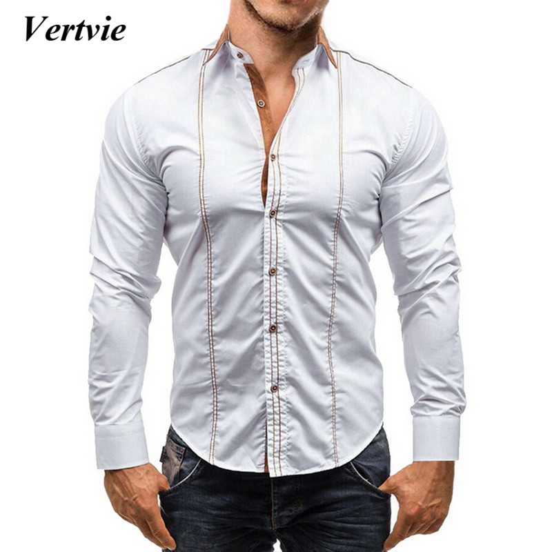 VERTVIE 2018 Men Dress Shirt Men Fashion Casual Male Slim Fit Solid Line Decorative Buttons Chemise  Camisas Dress Shirt Clothes