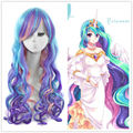 ePacket Free shipping  My Little Pony Princess Cosplay Wig Rainbow Long Curly Hair Wigs
