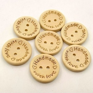 50pcs/lot Natural Color Handmade Letter Wooden Button Round Shape 2-Holes Buttons Sewing For Needlework Material15mm/20mm/25mm