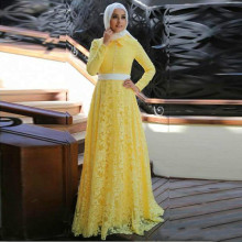 2017 Elegant Yellow Lace Muslim Evening Dress with Hijab Middle East Party Dresses Long Sleeves A line Arabic Prom Gownn vestido