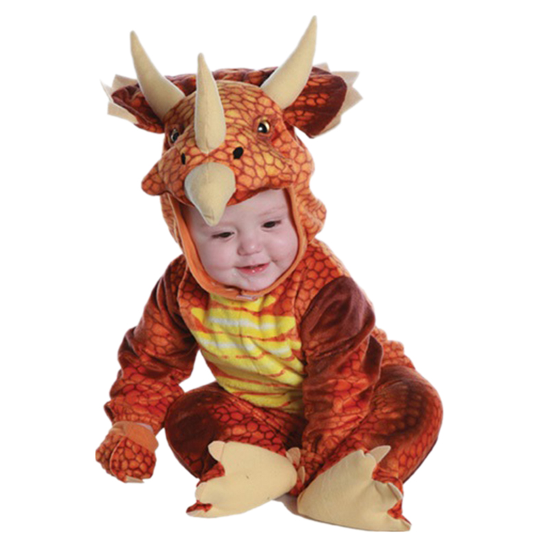2018 Boys Girls Fiery Triceratops Costume Cosplay Dinosaur Clothing Winter Party Dress
