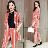 HIGH QUALITY 3 Pieces set Striped Pant Suits Women Casual Office Business Suits Formal Work Wear Sets Fashion Pant Suits