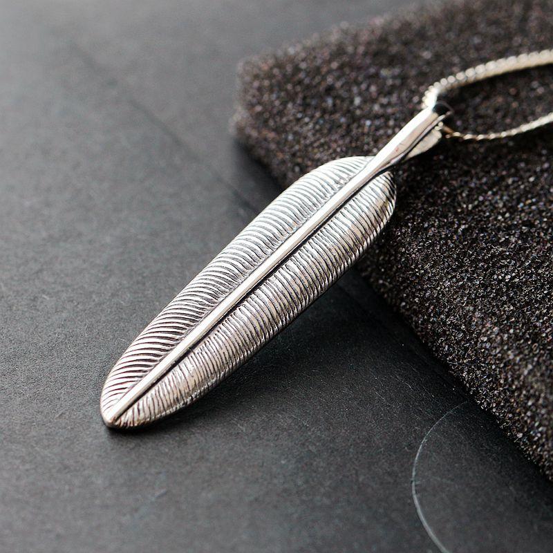 Retro Thai Silver Wholesale Takahashi Goro S925 Sterling Silver Pendant Feather Pendant Silver Pendant Male And Female