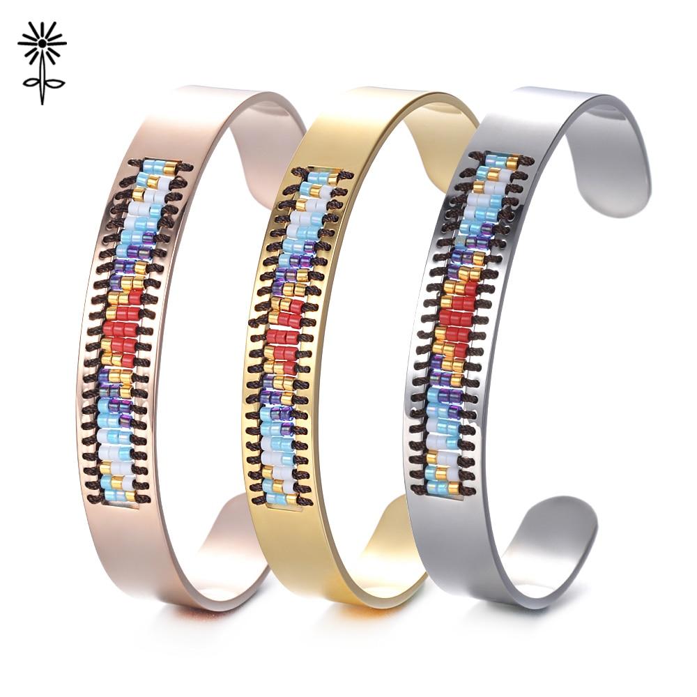 2018 Fashion Trendy Rose Gold Color Stainless Steel Seed Bead Cuff Bangle Women Jewelry Friendship Miyuki Seed Bead M-002