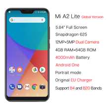 """Global Version Xiaomi Mi A2 Lite 4GB 64GB 5.84"""" Mobile Phone Snapdragon 625 AI Dual Camera 4000mAh Android One Android 8.1 CE"""