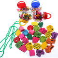 Free shipping!Wooden colorful toys pumpkin bucket animal beaded fruit toys for children learning education baby toy kinetic WYQ