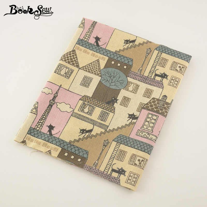 Booksew เย็บ Tissu บ้านสิ่งทอสำหรับผ้าปูโต๊ะหมอนกระเป๋าผ้าม่านเบาะ Zakka พิมพ์ House และแมวออกแบบผ้าฝ้ายผ้าลินินผ้า